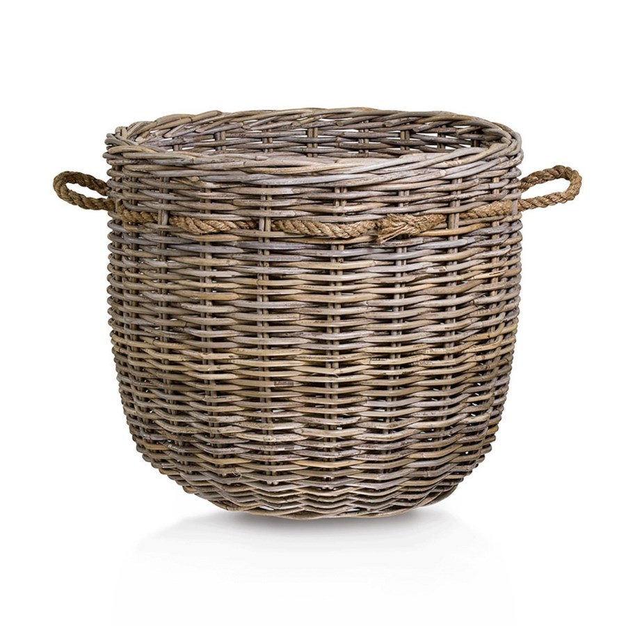 Round Basket with Ropes, Set of 2