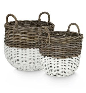 Round basket with handle  Set of 2
