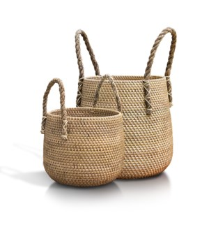 Pear Basket with Jute Handle, Set of 2