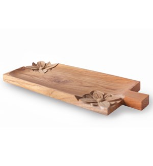 Wooden Cheese Platter with Bali Carving