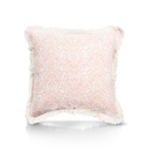 "Pillow, 20"" with Fringe - Damask, Coral"