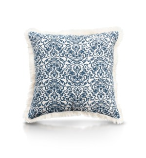 "Pillow, 20"" with Fringe - Damask, Denim"