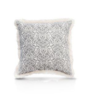 "Pillow, 20"" with Fringe - Damask, Cool Gray"