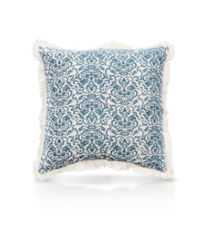"Pillow, 20"" with Fringe - Damask, Turqoise"