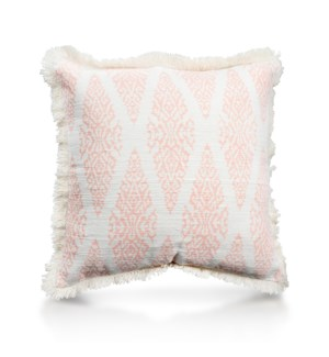 "Pillow, 20"" with Fringe - Ikat, Coral"