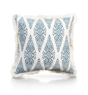 "Pillow, 20"" with Fringe - Ikat, Denim"