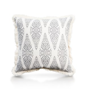 "Pillow, 20"" with Fringe - Ikat, Cool Gray"