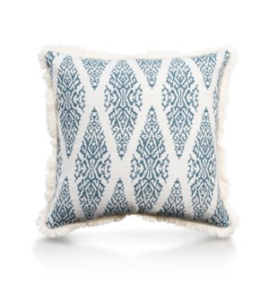 "Pillow, 20"" with Fringe - Ikat, Turqoise"