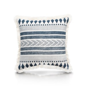 "Pillow, 20"" with Fringe - Stella, Denim"