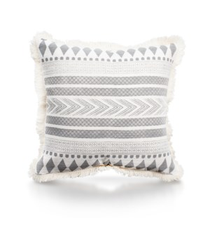"Pillow, 20"" with Fringe - Stella, Cool Gray"