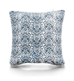 "Pillow, 24"" with Piping - Damask, Denim"