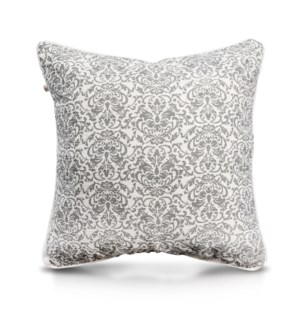 "Pillow, 24"" with Piping - Damask, Cool Gray"