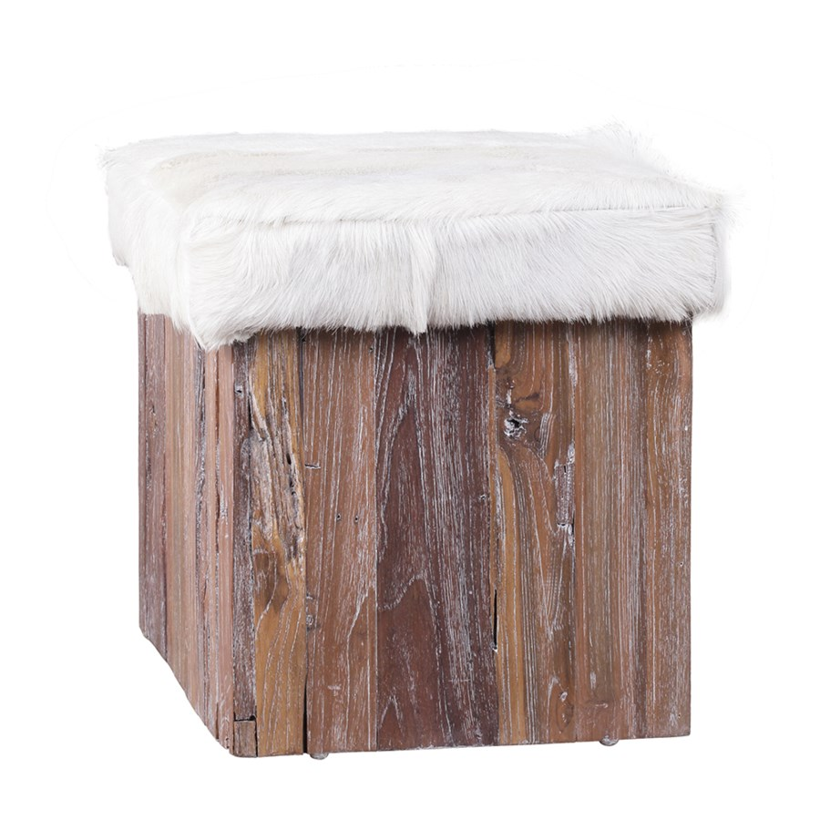 Goat Hide Stool with Driftwood Base