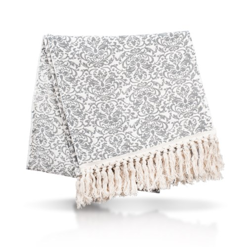 Table Runner with Fringe - Damask, Cool Gray