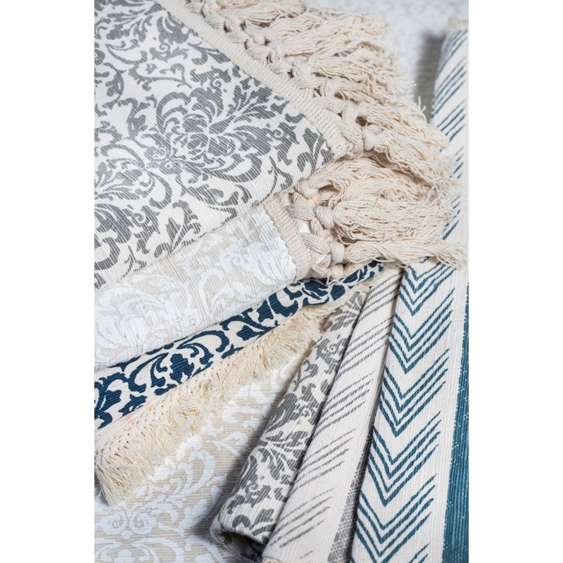 Table Runner with Fringe - Ikat, Cool Gray