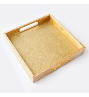 Upscale Tray with Gold Jute