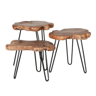 Teak Sliced Nesting Tables