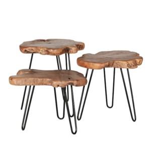 Teak Sliced Nesting Tables