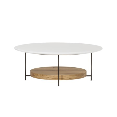 "Olivia Coffee Table - Dia. 42"" / White Lacquer"