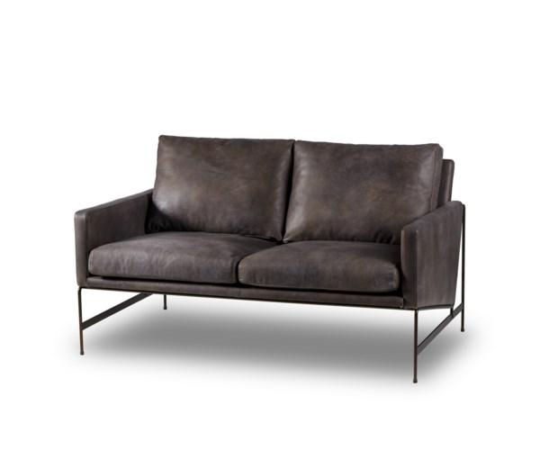 Vanessa 2 Seater Sofa - Destroyed Black Leather - sofas - Resource Decor