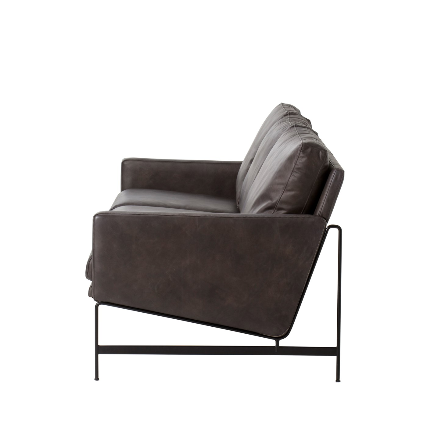 Vanessa 3 Seater Sofa - Destroyed Black Leather - - Sonder Distribution