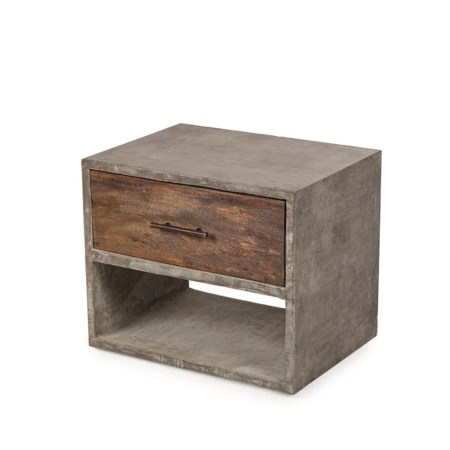 Harrison Left Side End Table With Concrete Top