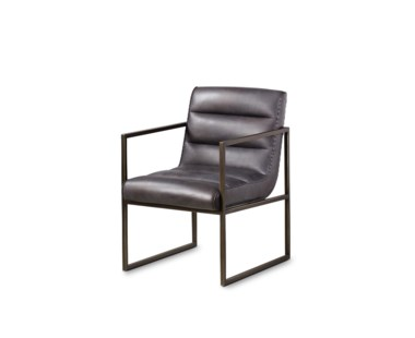 Noah Arm Chair - Destroyed Black Leather