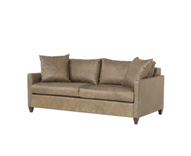 Ian Sofa - Wooden Tapered Leg - Fonzo Bistre Leather