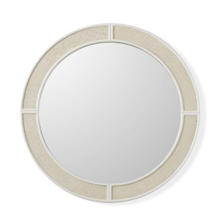 Alice Mirror - Round / Emboss Faux Shagreen / Ivory