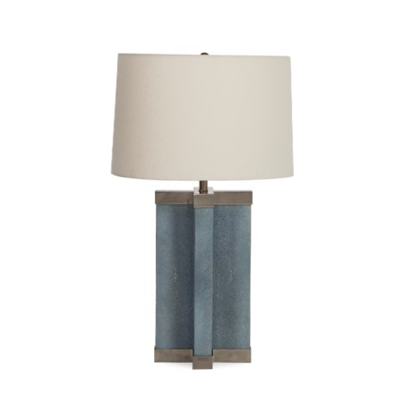 Shagreen Lamp - Baby Blue / White Shade / 120v US