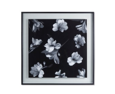 Black & White Flowers - Glass Float