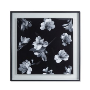 Black & White Flowers - Glass Float