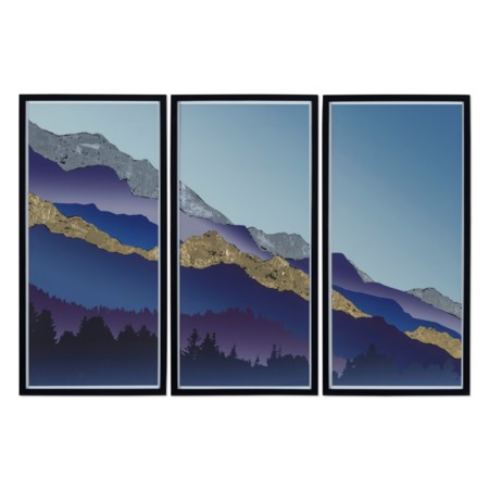 Gold & Silver Leaf Mountain Triptych