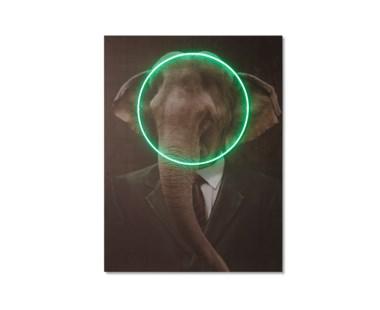 LED Neon Elephant Portrait