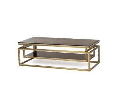 Drop Shelf Coffee Table - Smoked Glass
