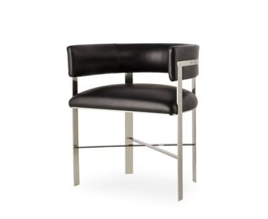 Art Dining Chair - Stainless Steel / Faith Onyx Leather