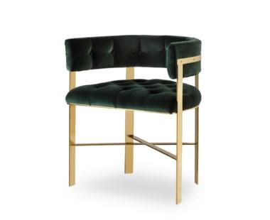 Art Dining Arm Chair Tufted - Mirrored Brass / Emerald Green