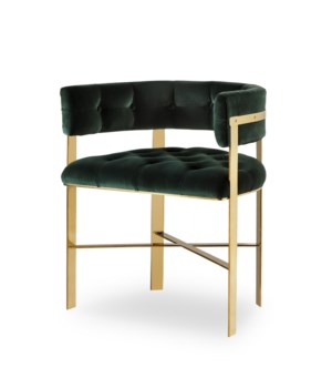Art Dining Arm Chair Tufted - Mirrored Brass / Emerald Green