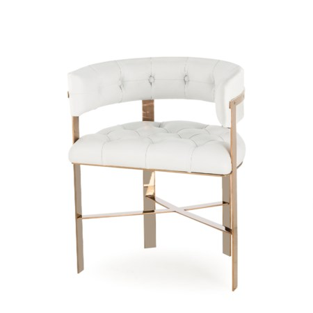Art Dining Chair Tufted - Mirrored Brass / Fallon White (UK Standard)