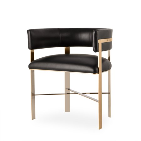 Art Dining Chair - Mirrored Brass / Faith Onyx Leather (UK Standard)