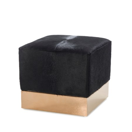 Morrison Ottoman - Square / Farrah Black Leather
