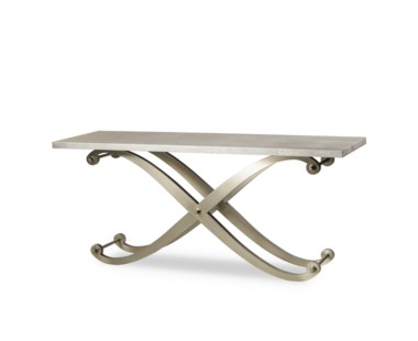 Elizabeth Console Table - Shagreen Top/ Stainless Steel Legs