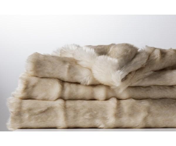 Faux Fur Throw - Warm Ivory
