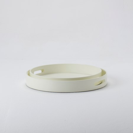 Large Round Lacquer Tray - Cream