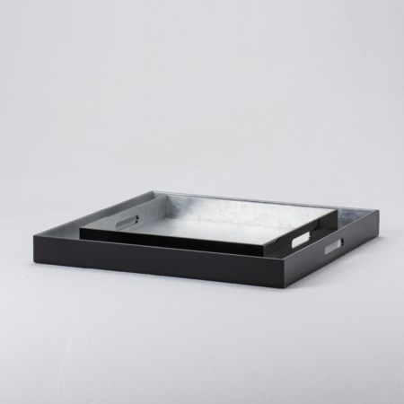 Small Lacquer Tray - Black with Silvery Inlay