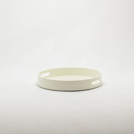 Small Round Lacquer Tray - Cream