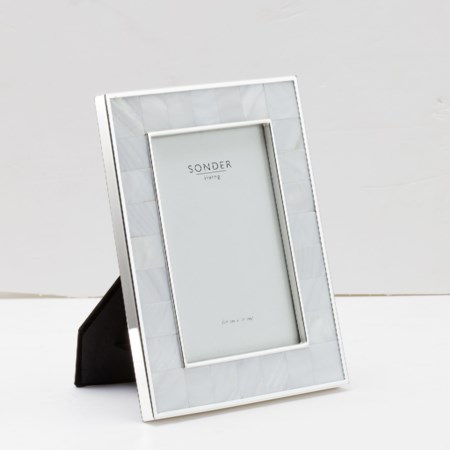 Mother of Pearl Stainless Steel Photo Frame - 4' x 6'