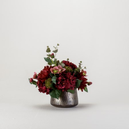Burgundy Hydrangea and Dahlia Bouquet in Gray Glass Vase