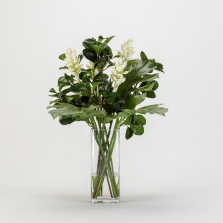 Ginger and Mixed Leaf Arrangement in Glass Square Vase