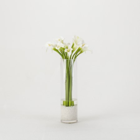 White Calla Lilies in Glass Vase